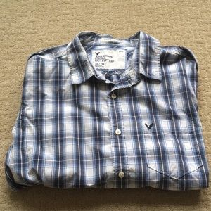 American Eagle Outfitters Blue/White Button Down